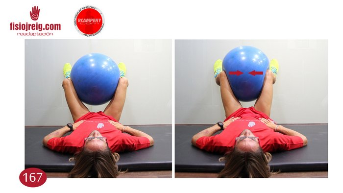 Ejercicio potenciación adductores con pelota de fiball