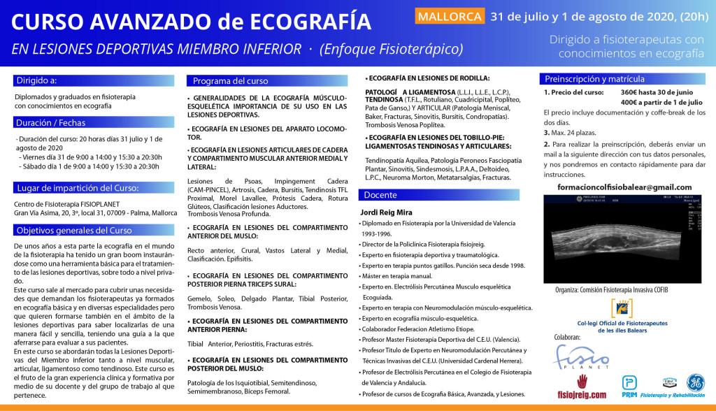 Tríptico curso ecografía Mallorca