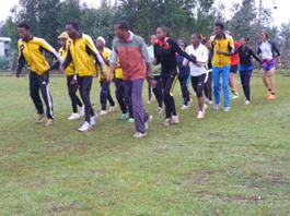 Etíopes entrenando técnica de carrera